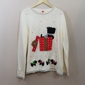 Sweaters - Ivory Christmas Dog Present Sweater Size XXL